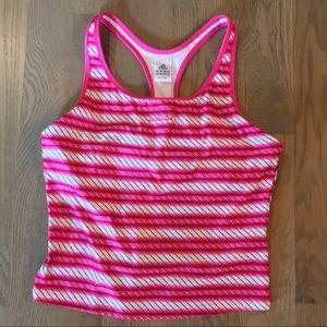 Adidas Pink Stripe Racerback Tank - XL